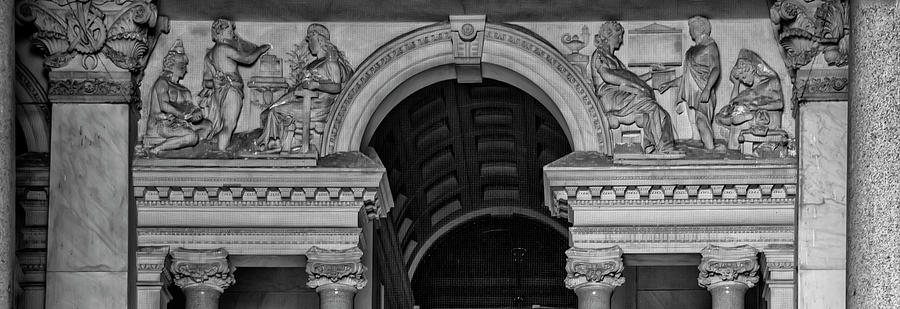 Black And White Photograph - Philadelphia City Hall Fresco In Black And White by Bill Cannon
