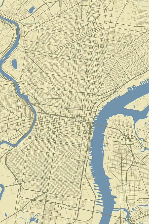 Pennsylvania In Usa Map.Philadelphia Pennsylvania Usa Classic Map Digital Art By Jurq Studio