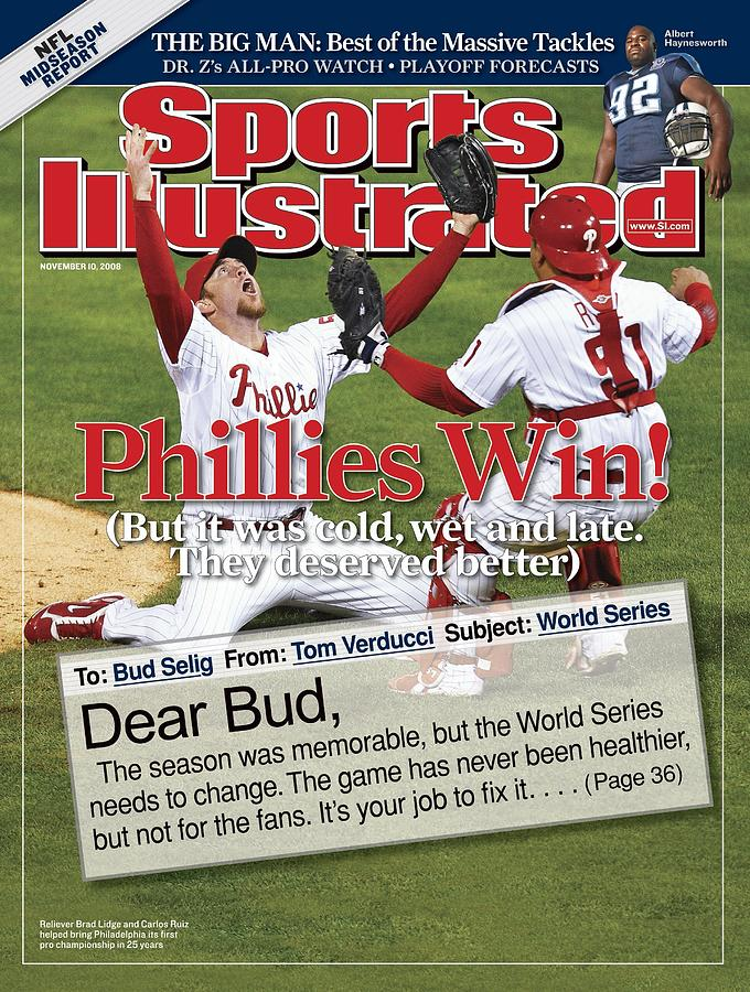 Philadelphia Phillies Brad Lidge, 2008 World Series Sports Illustrated Cover Photograph by Sports Illustrated