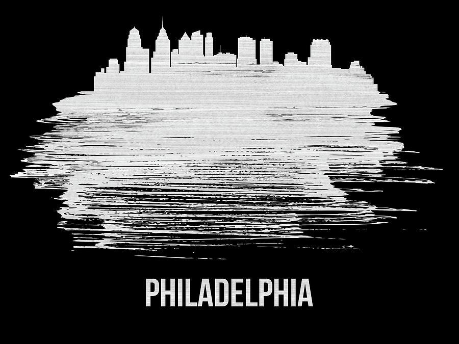 Philadelphia Mixed Media - Philadelphia Skyline Brush Stroke White by Naxart Studio