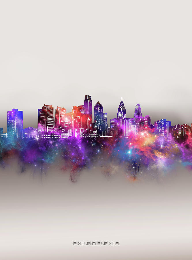 Philadelphia Digital Art - Philadelphia Skyline Galaxy by Bekim M