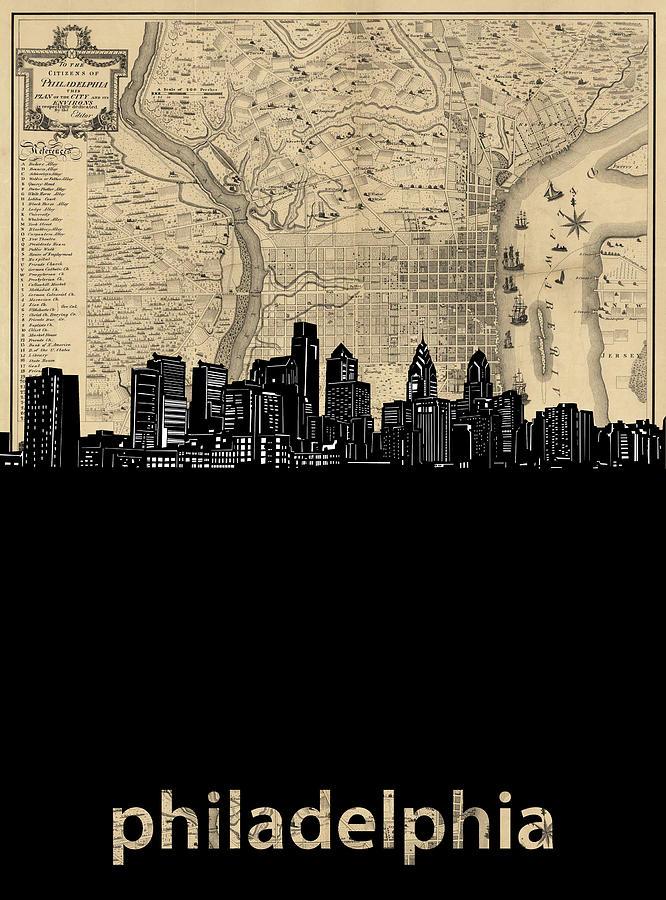 Philadelphia Digital Art - Philadelphia Skyline Map by Bekim M