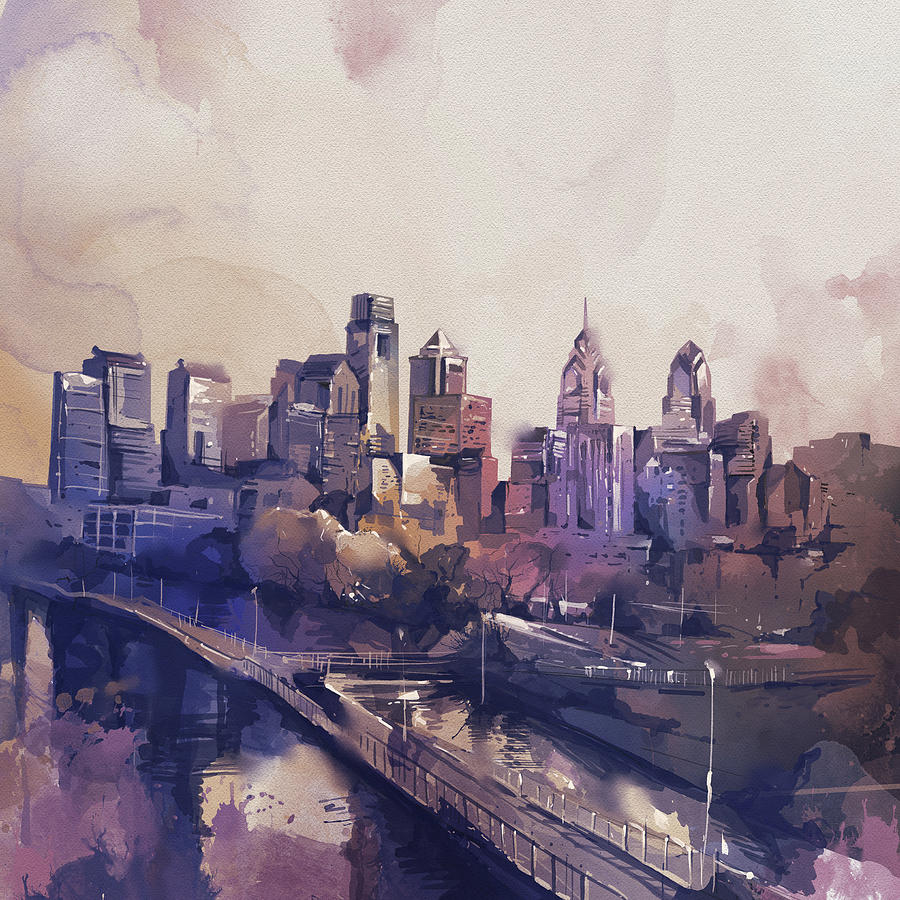 Philadelphia Watercolor Digital Art