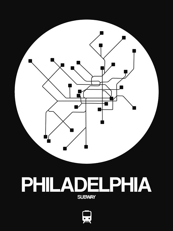 Philadelphia Digital Art - Philadelphia White Subway Map by Naxart Studio