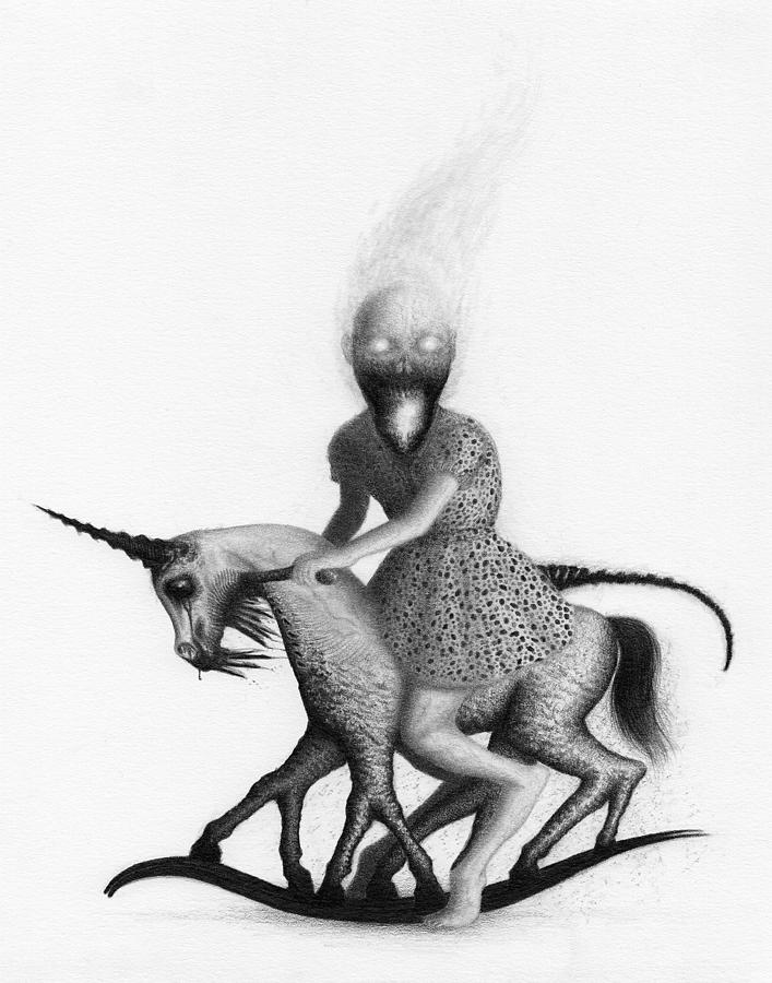 Horror Drawing - Philippa The Crackling Rider - Artwork  by Ryan Nieves