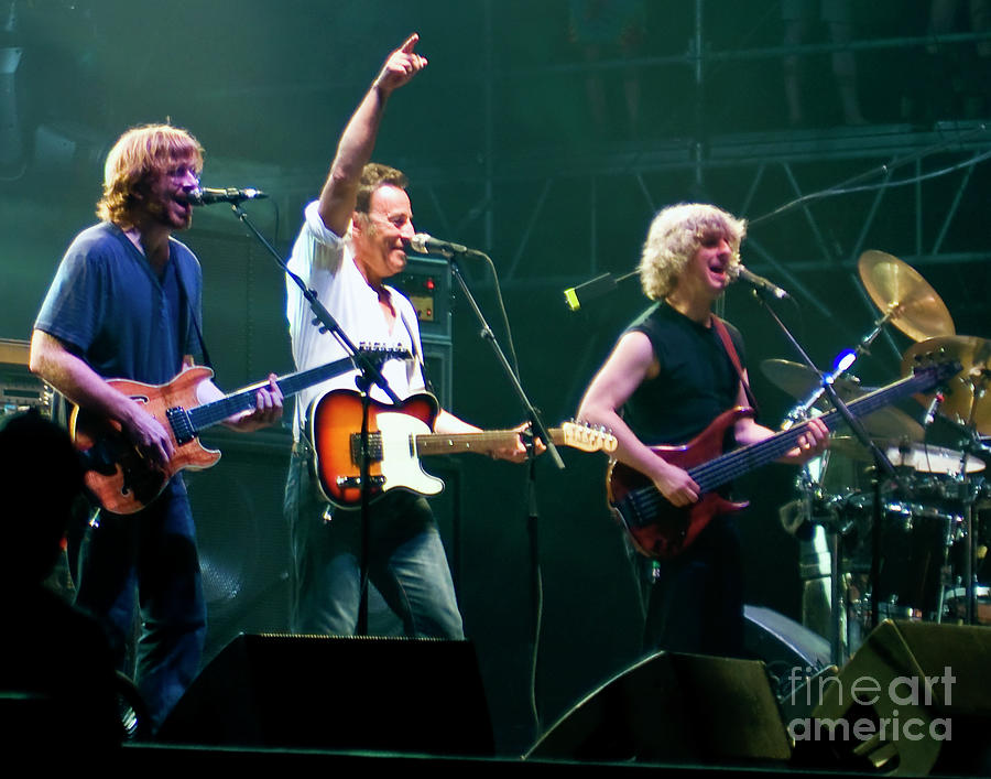 Phish Photograph - Phish With Bruce Springsteen At Bonnaroo Music Festival by David Oppenheimer
