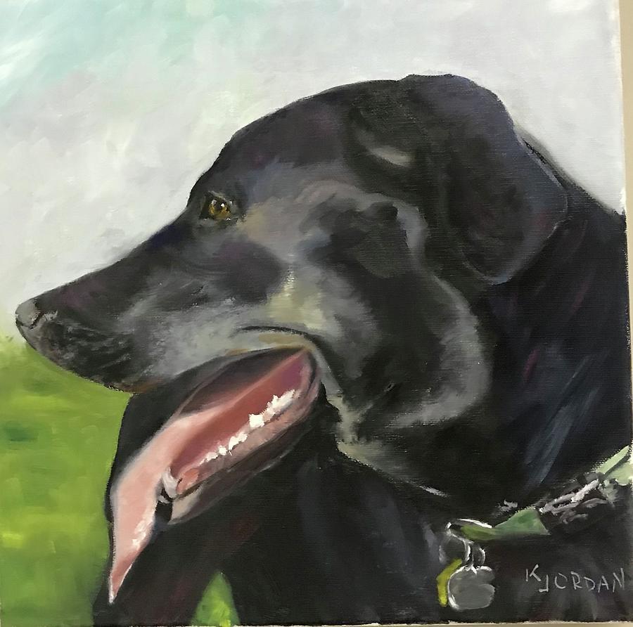 Black Lab Painting - Phoebe by Karen Jordan