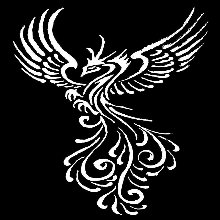 920deed5e Phoenix Bird White Tribal Tattoo Design Painting by Taiche Acrylic Art