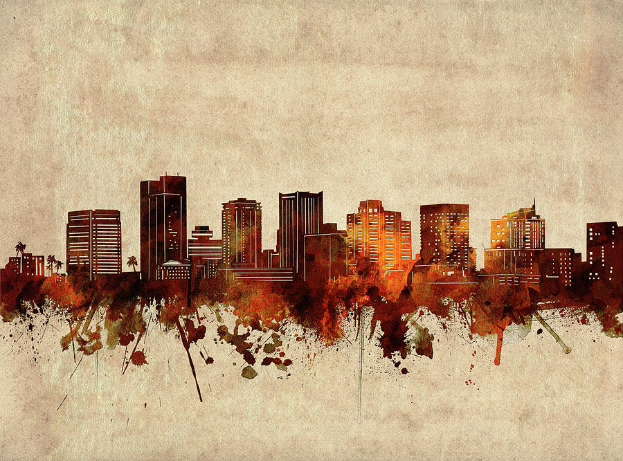 Phoenix Digital Art - Phoenix Skyline Sepia by Bekim M