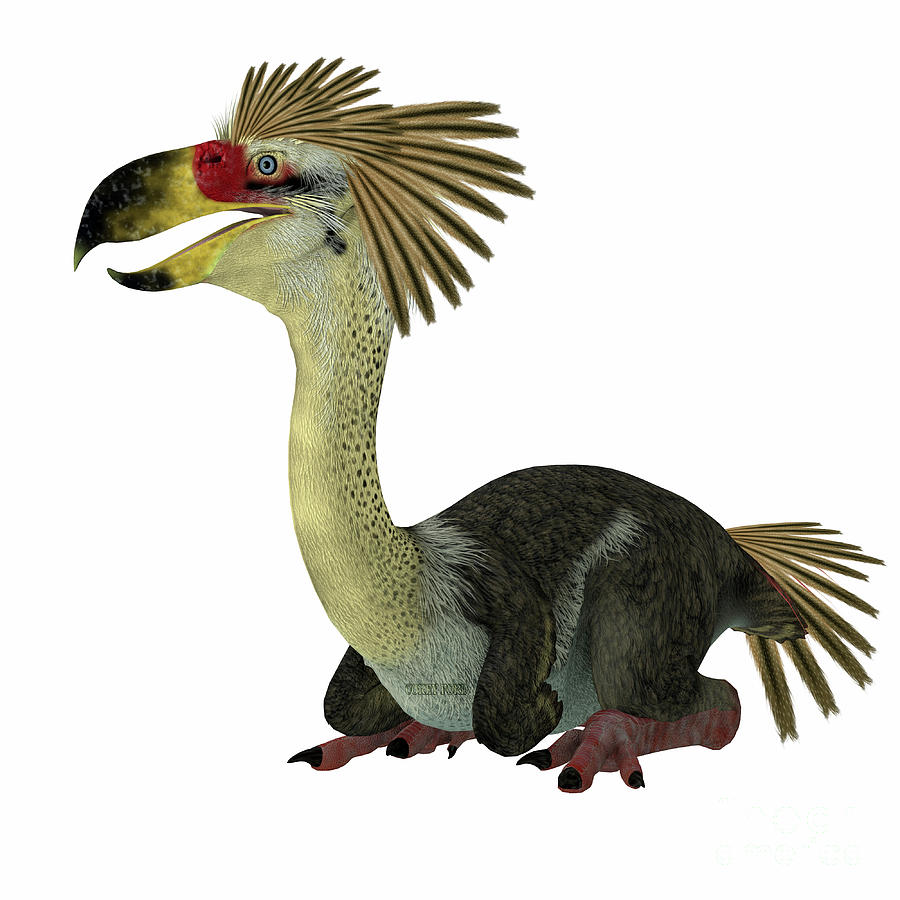 Phorusrhacos Digital Art - Phorusrhacos Bird Sitting by Corey Ford