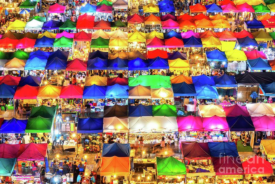 Photo Of Night Market High View Digital Art by Suttipong Sutiratanachai