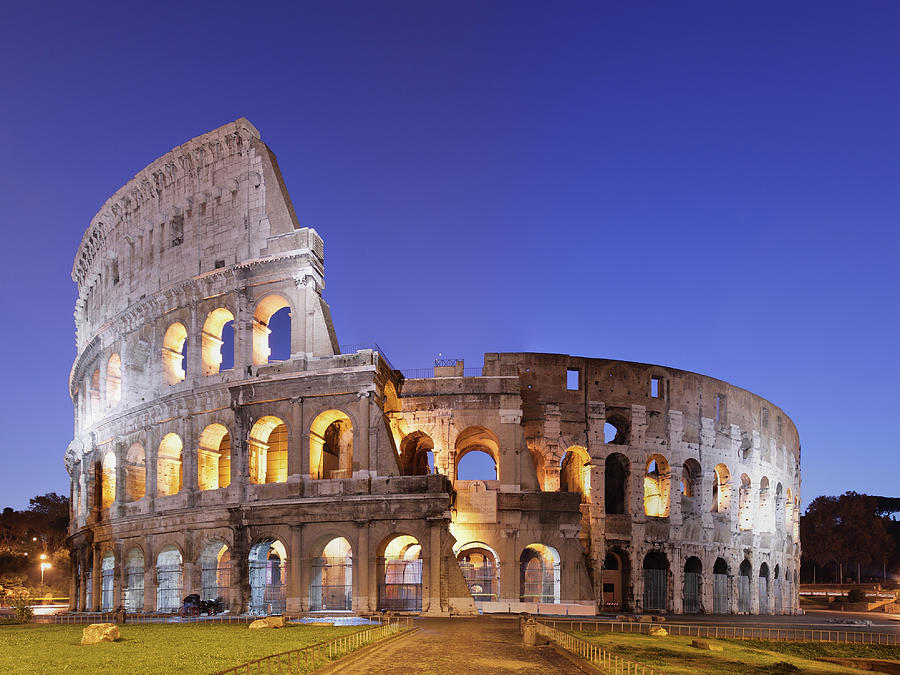 Photo Of The Coliseum In Rome Against Photograph by S. Greg Panosian