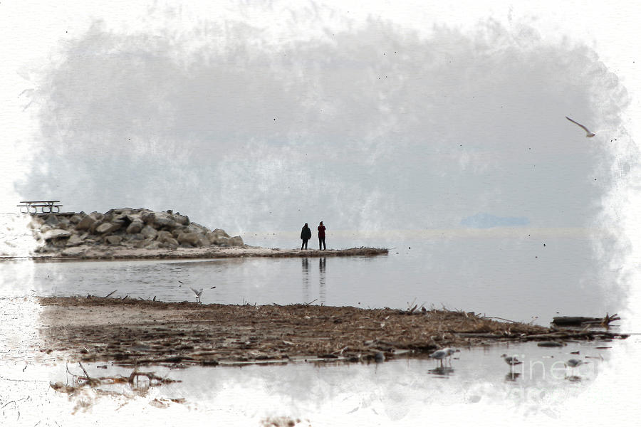 Animal Photograph - Photographers At The Salton Sea In Digital Watercolor by Colleen Cornelius