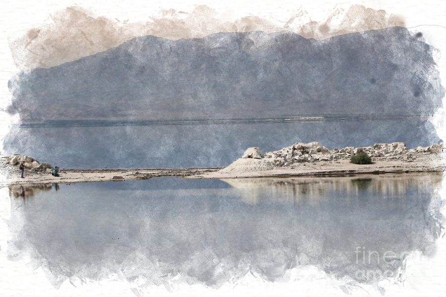 Photography at a Sandbar Salton Sea in Digital Watercolor by Colleen Cornelius