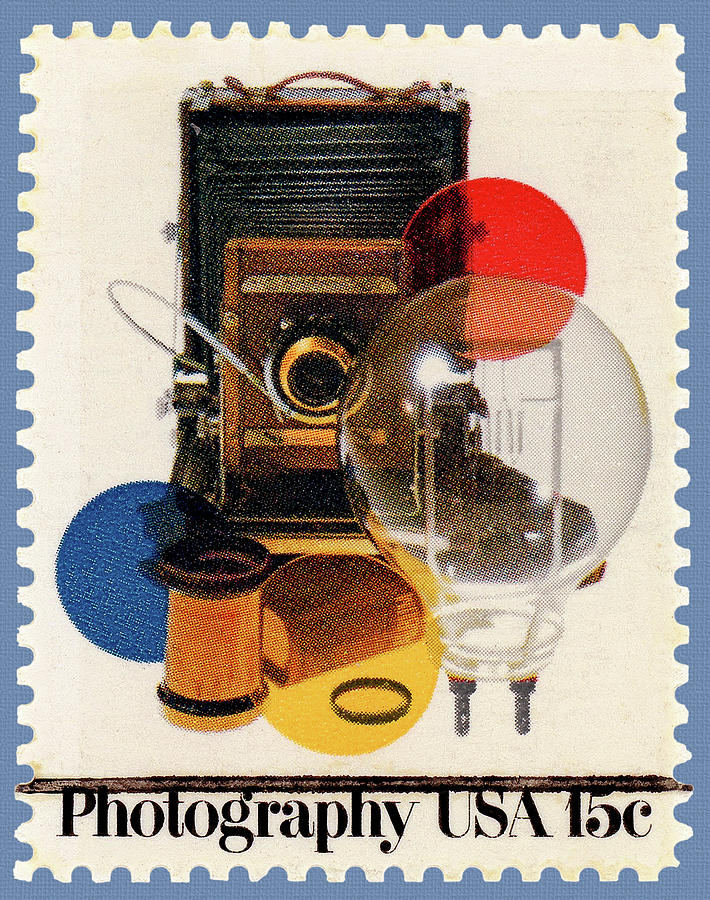 Photograpy U S A  Postage Stamp with Equipment by Phil Cardamone