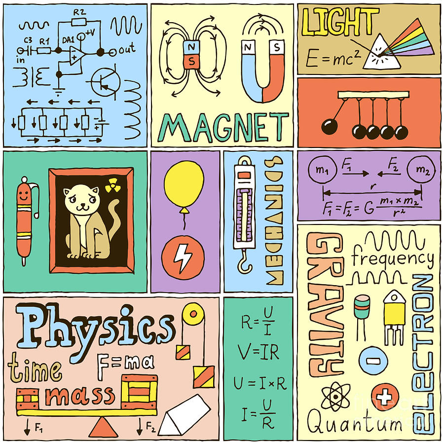 Practice Digital Art - Physics Science Banners Set. Color Hand by Sashatigar
