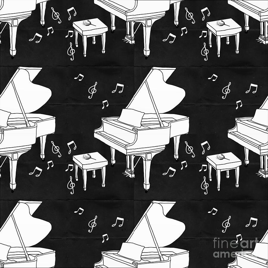 Piano Repeating Pattern Digital Art