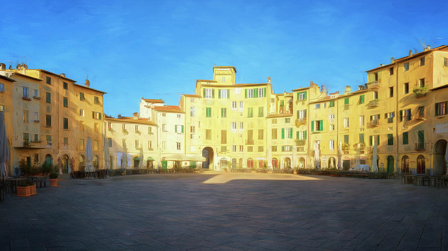 Piazza dell'Anfiteatro Lucca Italy Painterly by Joan Carroll