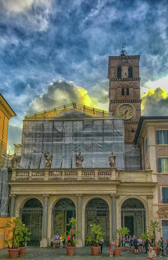 Italia Photograph - Piazza Di Santa Maria In Trastevere by Joseph Yarbrough