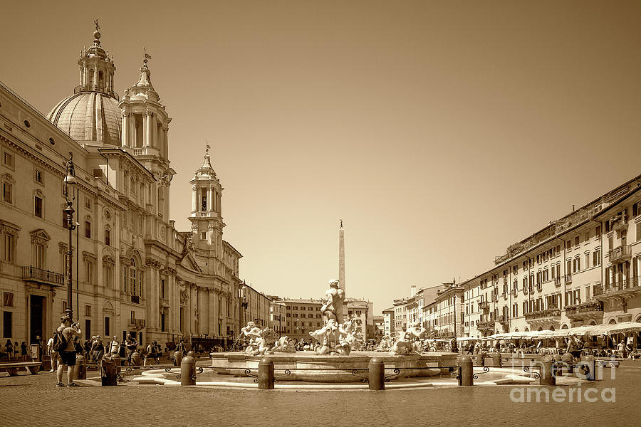 Sepia Photograph - Piazza Navona - Sepia In Rome by Stefano Senise