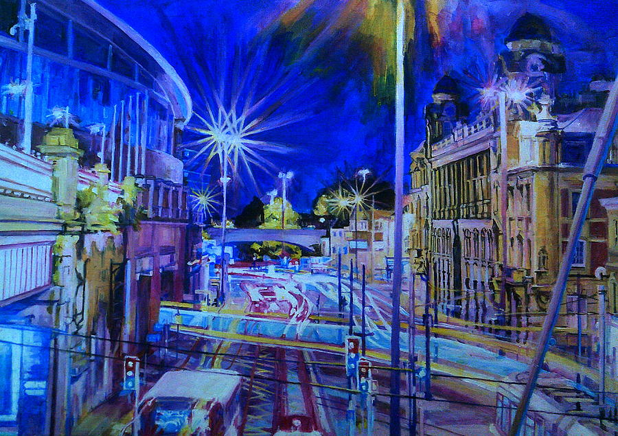 Piccadilly Station With Tram At Night by Rosanne Gartner