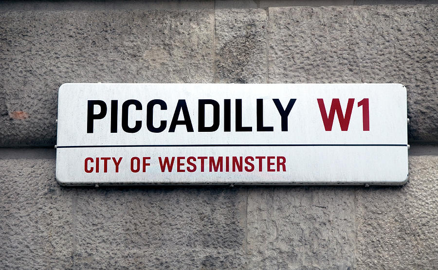 Piccadilly Street Sign London England Photograph by Lillisphotography