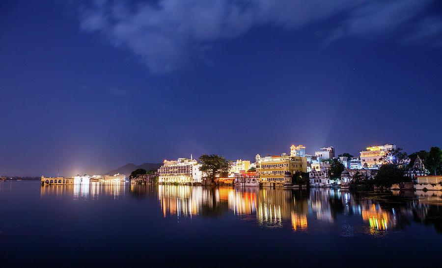 Pichola Lake Night View Photograph by Greenlin