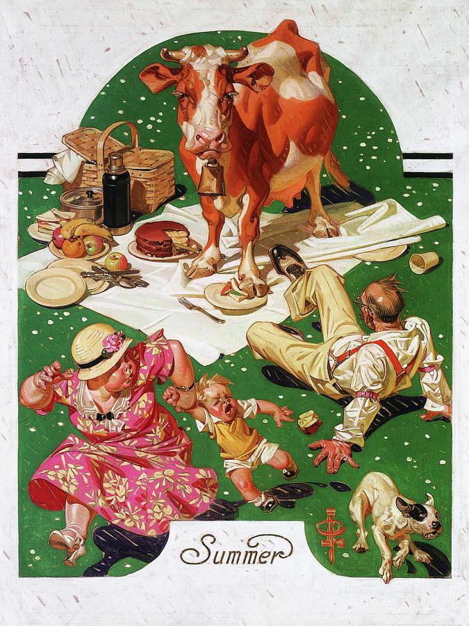 Joseph Christian Leyendecker Painting - Picnic Interruption - Digital Remastered Edition by Joseph Christian Leyendecker