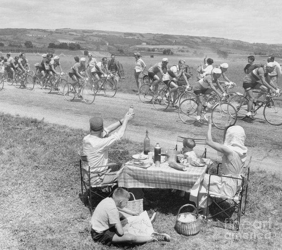 Picnicking Family Greets Tour De France Photograph by Bettmann