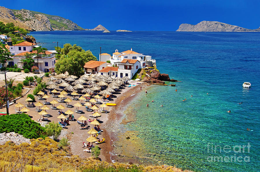 Mountains Photograph - Pictorial Beaches Of Greece - Hydra by Leoks