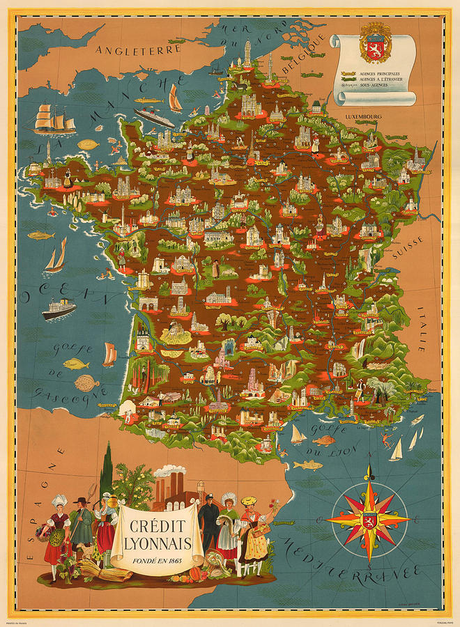 Pictorial Map Of France  by Andrew Fare