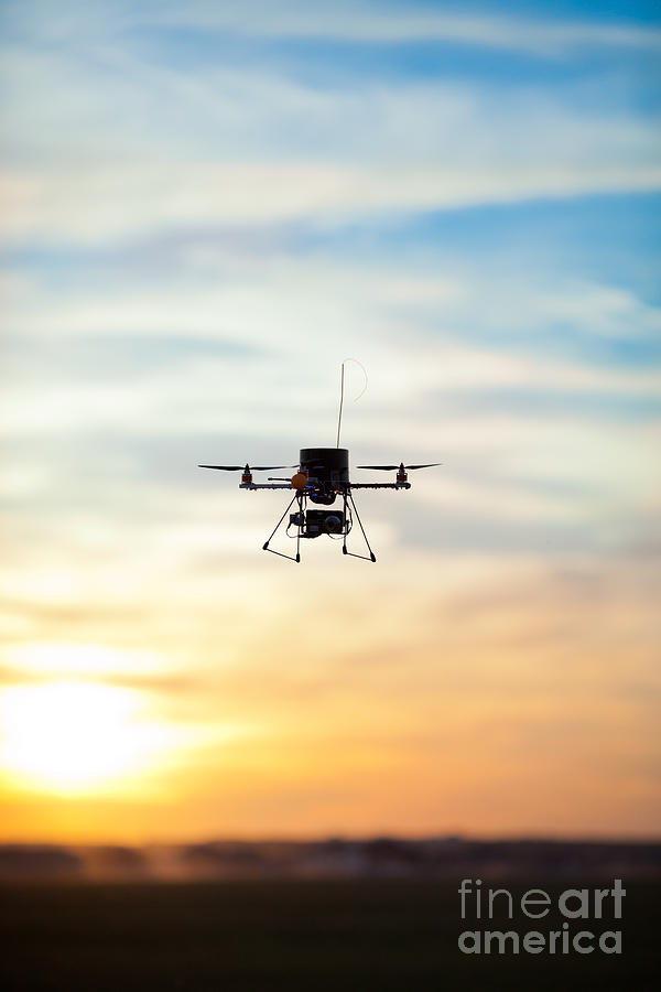 Sky Photograph - Picture Of A Quadrotor Rc Model by Glovatskiy