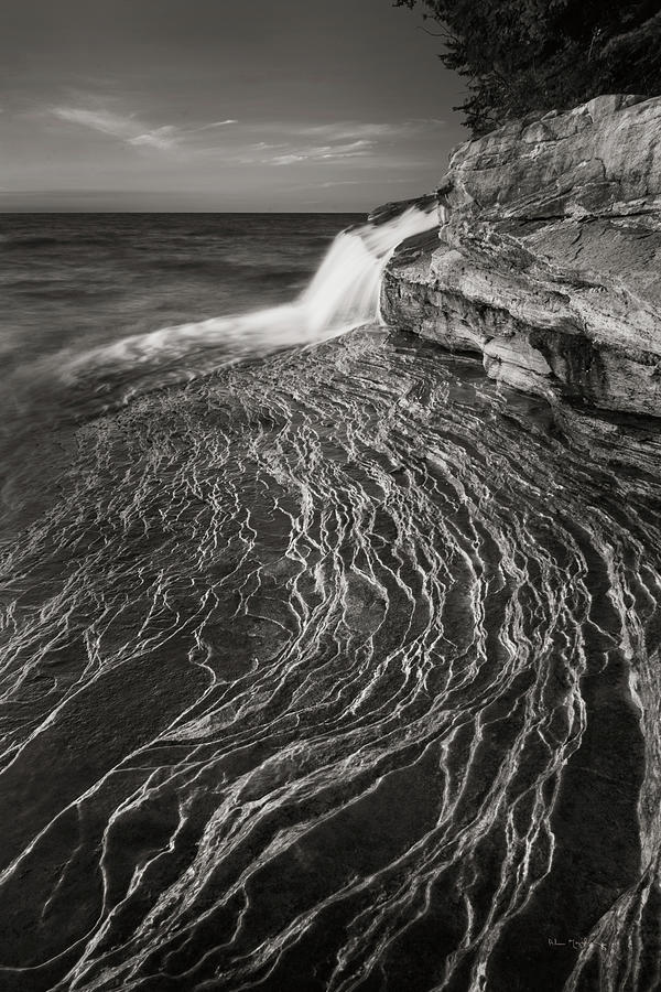 Great Lakes Photograph - Pictured Rocks Michigan I Bw by Alan Majchrowicz