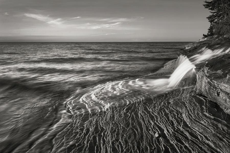 Great Lakes Photograph - Pictured Rocks Michigan II Bw by Alan Majchrowicz