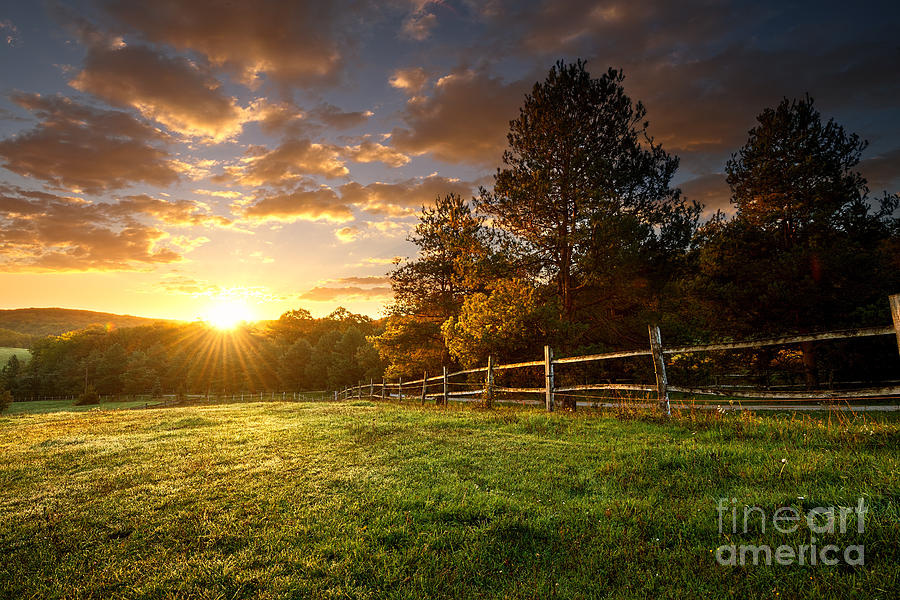 Country Photograph - Picturesque Landscape, Fenced Ranch At by Gergely Zsolnai