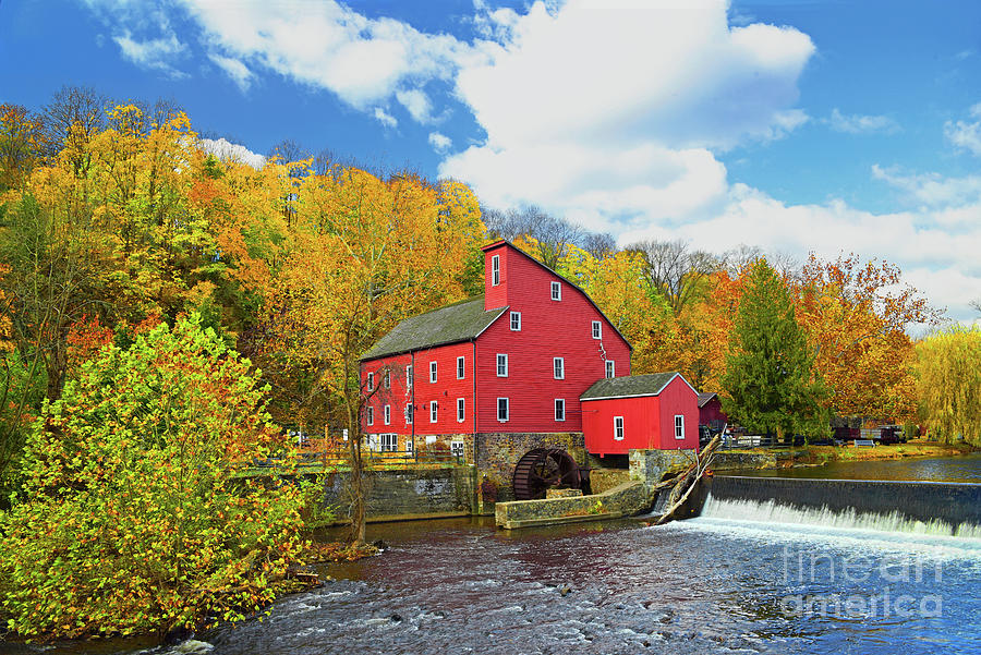 Picturesque Red Mill Autumn Landscape by Regina Geoghan
