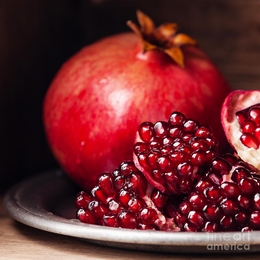 Tray Photograph - Pieces And Seeds Of Ripe Pomegranate by Lisovskaya Natalia