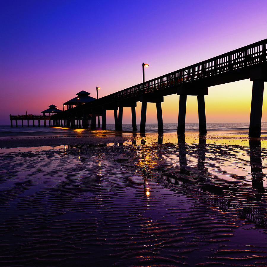 Pier Boardwalk At Sunset Photograph by Moreiso