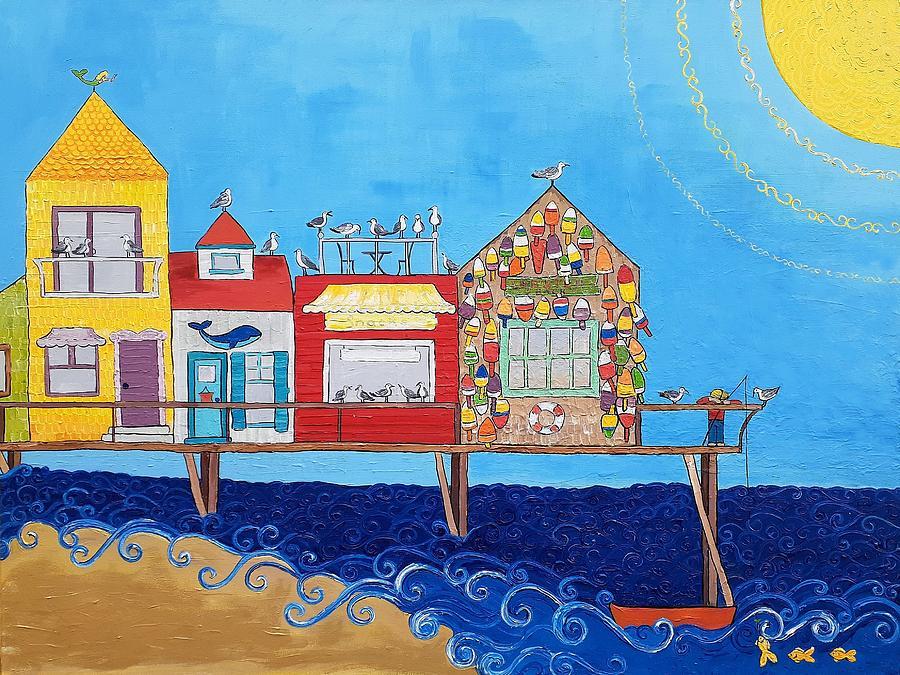 Caroline Painting - Pier by Caroline Sainis