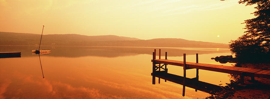 Horizontal Photograph - Pier On A Lake, Lake Pleasant by Panoramic Images