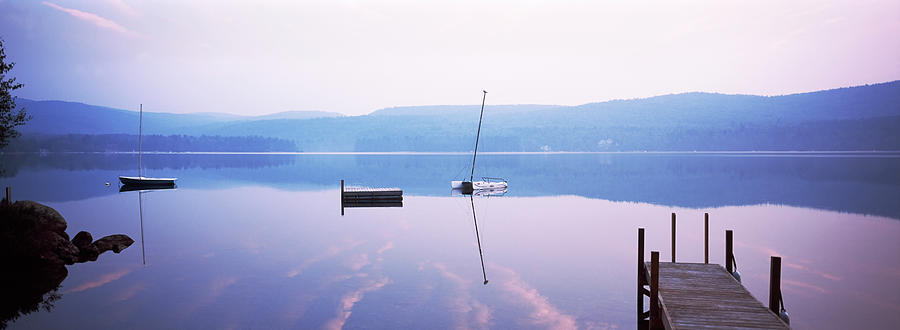 Horizontal Photograph - Pier On A Lake, Pleasant Lake by Panoramic Images