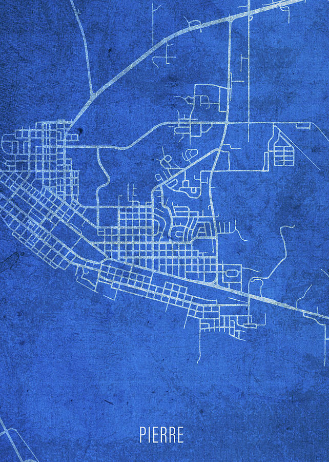 Pierre South Dakota City Street Map Blueprints Mixed Media By Design Turnpike