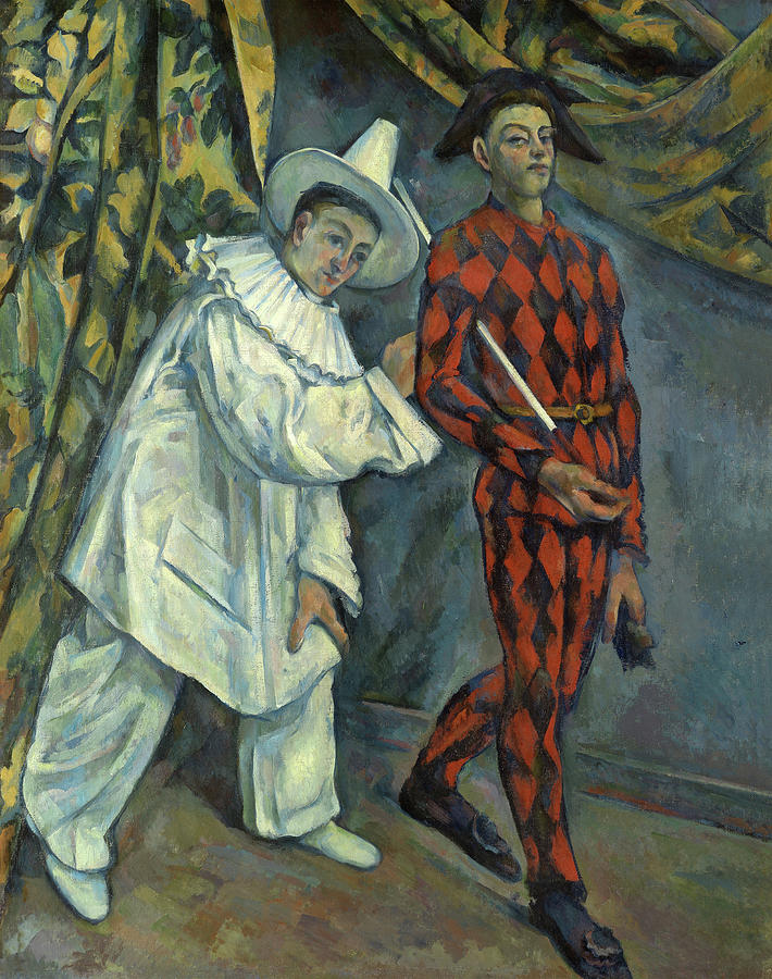 Cezanne Painting - Pierrot And Harlequin, 1890 by Paul Cezanne
