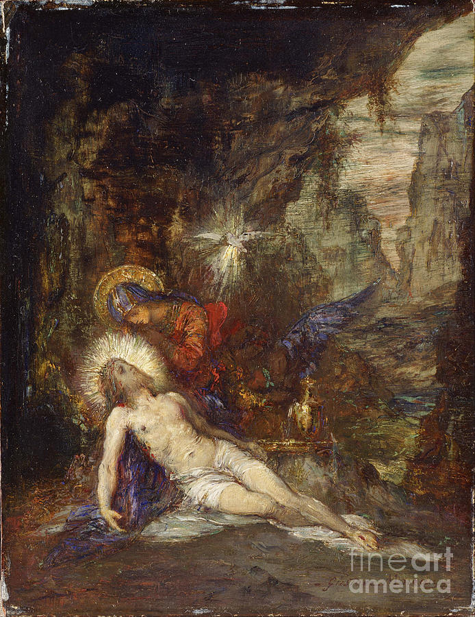 Pietà, C. 1876. Artist Moreau, Gustave Drawing by Heritage Images