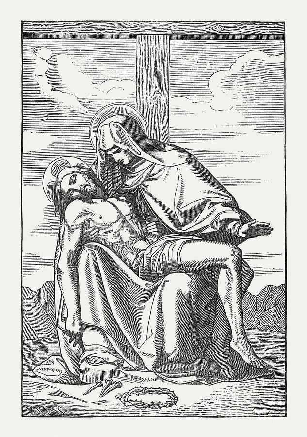 Pietà, Virgin Mary And The Dead Jesus Digital Art by Zu 09