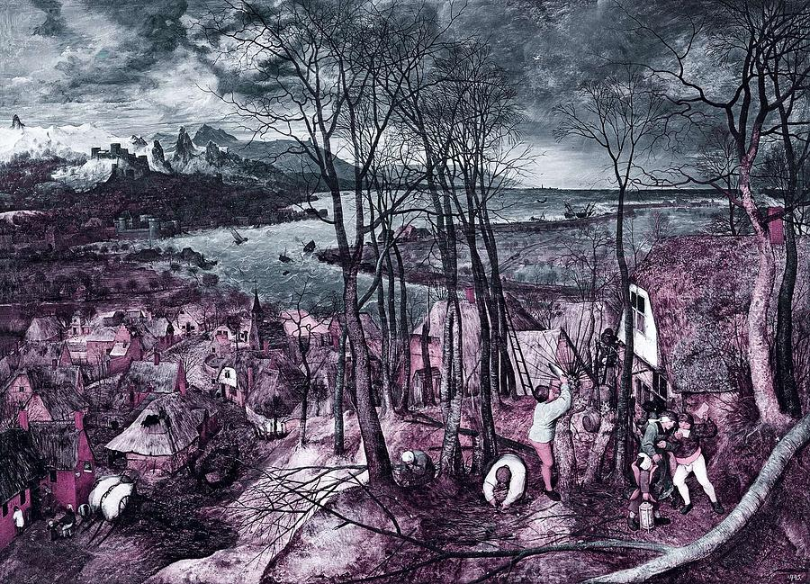 Gloomy Painting - Pieter Bruegel The Elder- The Gloomy Day -  Infrared Version by Celestial Images