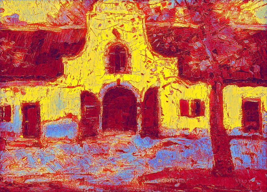 Nature Painting - Pieter Willem Frederick Wenning The Stable-doors At Groot Constantia Neon Art By Ahmet Asar by Ahmet Asar