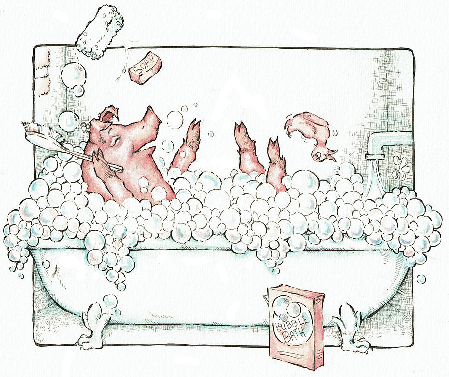 Pig Taking A Bubble Bath In The Bath Tub Drawing By Betsy Day