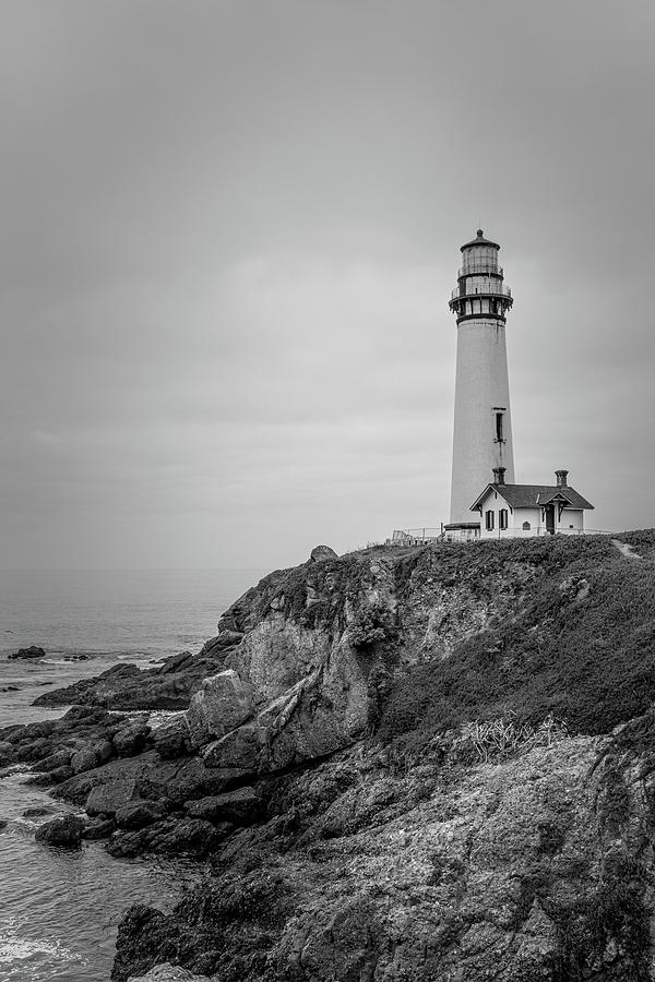Pigeon Point Lighthouse in the Mist - Vertical - Monochrome by TL Wilson Photography by Teresa Wilson