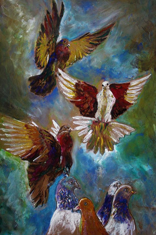 Pigeons flock by Khalid Saeed